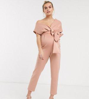 Розовый комбинезон со спущенными плечами ASOS DESIGN Maternity-Коричневый цвет Maternity