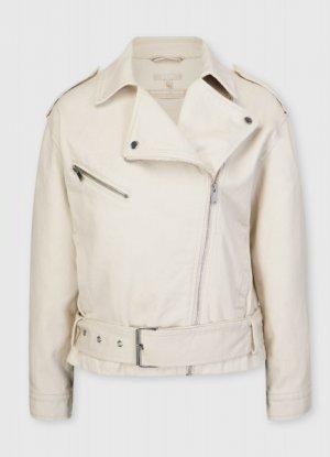 Хлопковая куртка-косуха O`Stin. Цвет: слоновая кость