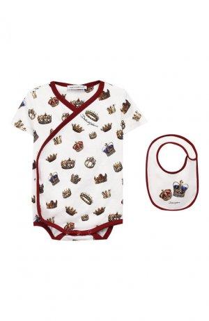 Комплект из хлопкового комбинезона и нагрудника Dolce & Gabbana. Цвет: белый