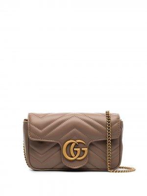 Мини-сумка GG Marmont Gucci. Цвет: нейтральные цвета