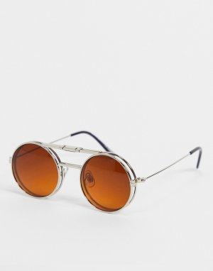 Серебристые круглые солнцезащитные очки унисекс с коричневыми линзами Lennon Flip-Коричневый цвет Spitfire