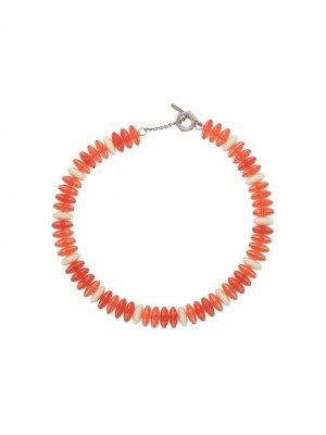 Колье-чокер из бисера Marni. Цвет: оранжевый