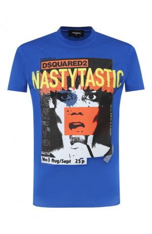 Хлопковая футболка Dsquared2. Цвет: синий