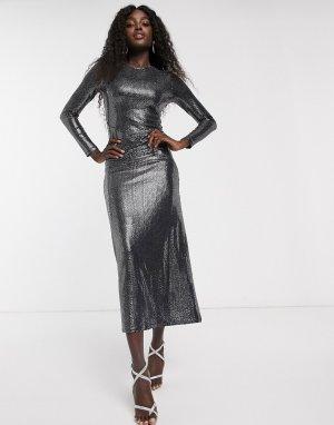 Черное блестящее платье макси -Черный Bardot