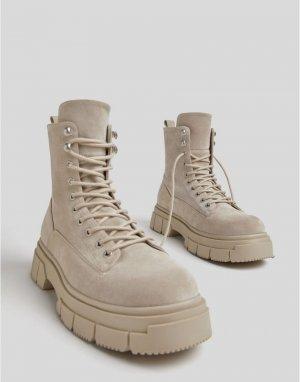 Ботинки песочного цвета на шнуровке -Светло-бежевый цвет Bershka