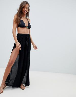 Пляжные брюки с разрезом спереди -Черный ASOS DESIGN