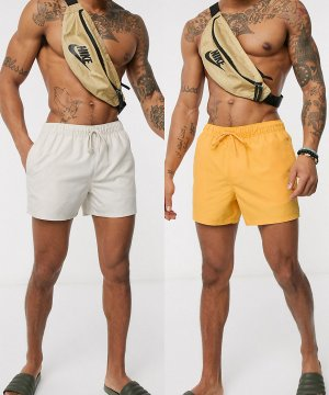 Набор из 2 коротких шорт для плавания (бежевые/желтые) ASOS DESIGN