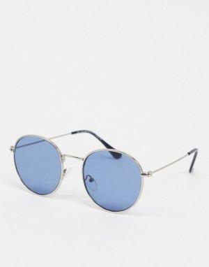 Серебристые круглые солнцезащитные очки с синими стеклами -Серебряный New Look