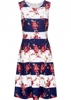 Летнее платье с принтом bonprix. Цвет: синий