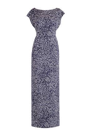 Шелковое платье с контрастным принтом и высоким разрезом на подоле ALEXANDER TEREKHOV. Цвет: синий