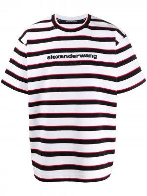 Полосатая футболка с логотипом Alexander Wang. Цвет: белый