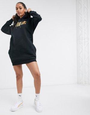 Черное платье-свитшот Holiday-Черный Puma