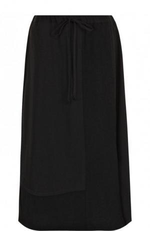 Шерстяная юбка-миди с эластичным поясом Yohji Yamamoto. Цвет: черный