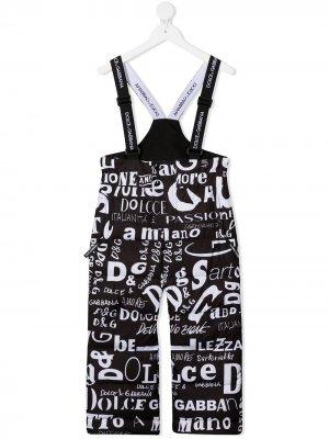 Лыжные брюки с логотипом Dolce & Gabbana Kids. Цвет: черный