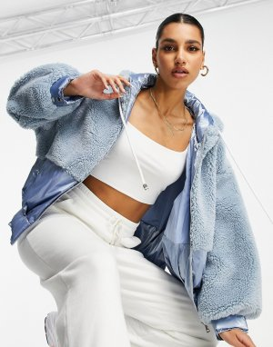 Голубая куртка из искусственного меха с капюшоном -Голубой Jayley