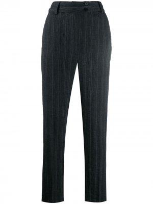 Полосатые брюки прямого кроя Gentry Portofino. Цвет: серый