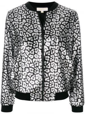 Куртка-бомбер с леопардовым принтом Michael Kors. Цвет: чёрный