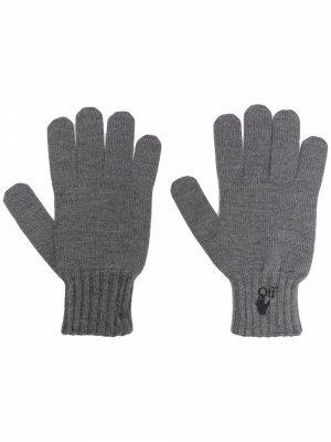 Перчатки с логотипом Hand Off Off-White. Цвет: серый