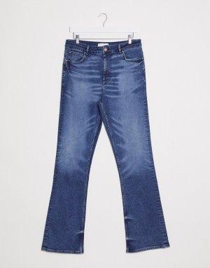 Синие расклешенные джинсы узкого кроя с завышенной талией -Синий ASOS DESIGN