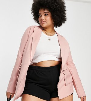 Розовый блейзер свободного кроя x Saffron Barker-Розовый цвет In The Style Plus