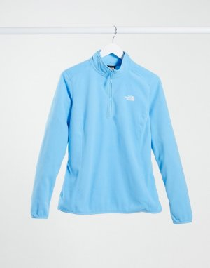Синий флисовый пуловер с воротом на короткой молнии 100 Glacier-Голубой The North Face