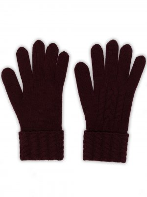 Перчатки фактурной вязки N.Peal. Цвет: красный