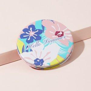 Складное зеркало с цветочным узором SHEIN. Цвет: многоцветный