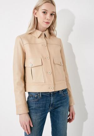 Куртка кожаная Sportmax Code. Цвет: бежевый