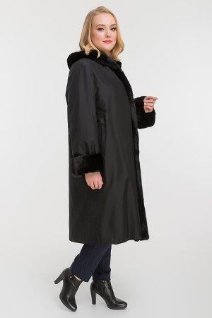 Утепленное пальто на зиму для большого размера Garioldi. Цвет: черный