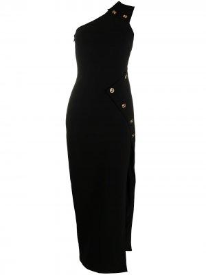 Вечернее платье на одно плечо с декором Medusa Versace. Цвет: черный
