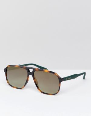 Солнцезащитные очки-авиаторы в черепаховой оправе TB1504 173 Ervin Ted Baker. Цвет: коричневый