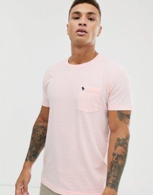 Розовая футболка с круглым вырезом и логотипом Abercrombie & Fitch. Цвет: розовый