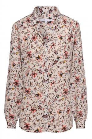 Бежевая блузка из шелка с принтом Gerard Darel. Цвет: бежевый
