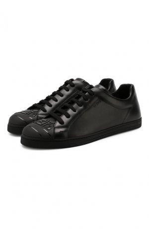 Кожаные кеды Fendi. Цвет: черный