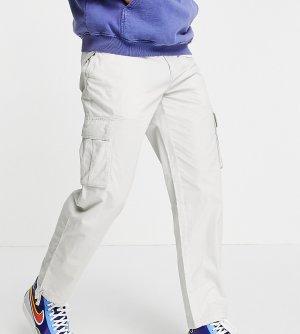 Серые брюки карго классического кроя из ткани рипстоп -Серый New Look