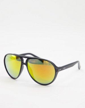 Солнцезащитные очки-авиаторы в стиле унисекс черной оправе с оранжевыми линзами -Черный цвет Jeepers Peepers