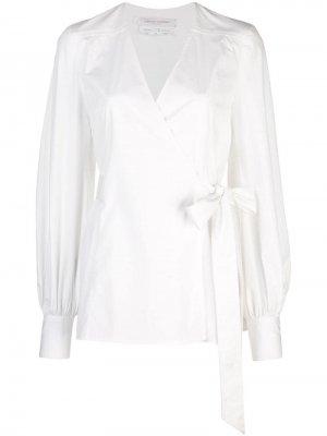 Блузка с запахом и V-образным вырезом Carolina Herrera. Цвет: белый