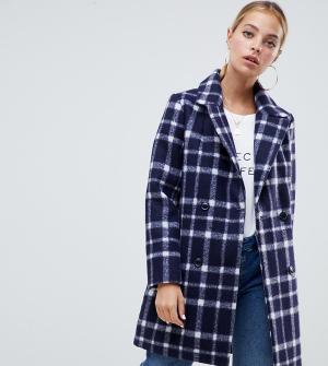 Шерстяное пальто в клетку Missguided Petite. Цвет: темно-синий