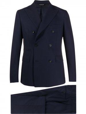 Костюм-двойка с двубортным пиджаком Tonello. Цвет: синий