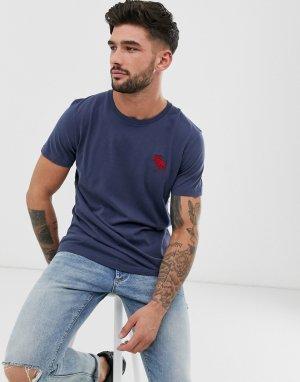 Темно-синяя футболка с круглым вырезом и логотипом -Темно-синий Abercrombie & Fitch