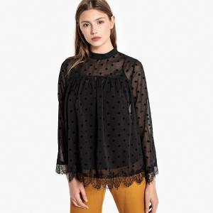 Блузка с воротником-стойкой и кружевом BEST MOUNTAIN. Цвет: черный