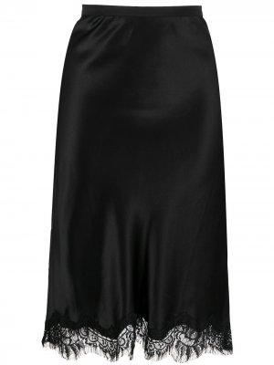 Атласная юбка с кружевным подолом Gold Hawk. Цвет: черный