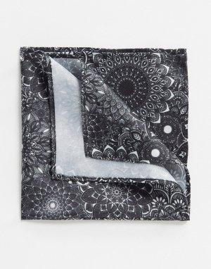 Черный платок для нагрудного кармана с цветочным принтом ASOS DESIGN