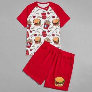 Мужская футболка и шорты SHEIN. Цвет: красный и белый