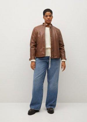 Кожаная байкерская куртка - Chelasea Mango. Цвет: коричневый средний