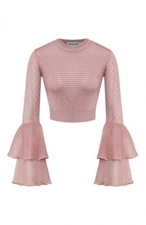 Пуловер из вискозы self-portrait. Цвет: розовый
