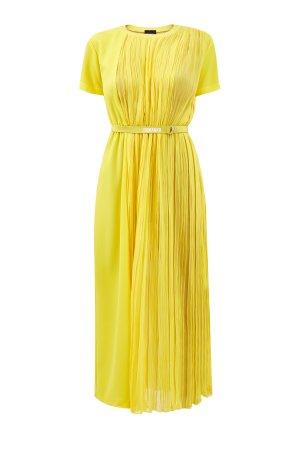 Платье с короткими рукавами из поплина шифоновой вставкой ERMANNO SCERVINO. Цвет: желтый