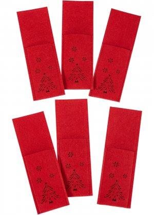 Мешочки для столовых приборов bonprix. Цвет: красный