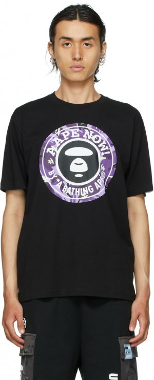 Black & Purple Logo T-Shirt AAPE by A Bathing Ape. Цвет: bkx black