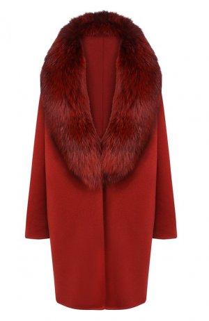 Пальто с меховым воротником Colombo. Цвет: бордовый
